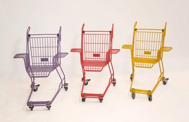 KART - Xavier Degueldre- Transformation-Modification- Transformation d'ancien chariot a roulette en fauteuil - donne une touche d'originalité dans la conception de cette objet du quotidien - style industriel