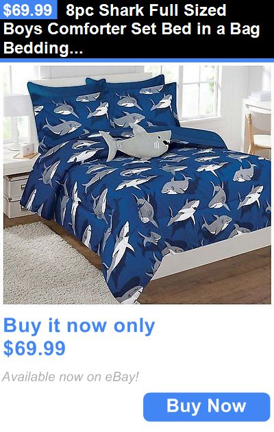 Kids at Home: 8Pc Shark Full Sized Boys Comforter Set Bed In A Bag Bedding Sheet Set BUY IT NOW ONLY: $69.99