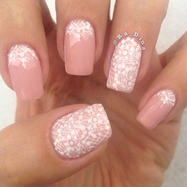 White Wedding Nail Art: Pink Nail With White Lace