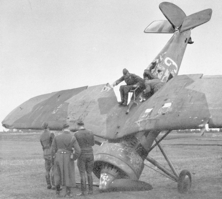 PZL P-11c. Courageous Polish pilots scored the first aerial victories in WWII against the Germans in this plane. This pic shows a plane captured and repainted by the Luftwaffe.