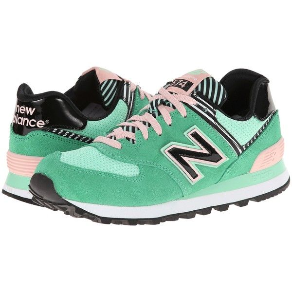 New Balance Classics WL574 Women's Lace up casual Shoes, Green (€40) ❤ liked on Polyvore featuring shoes, green, green athletic shoes, laced shoes, new balance classics, cushioned shoes and laced up shoes
