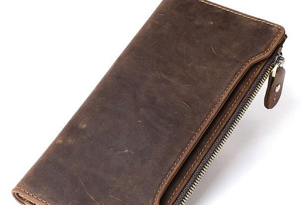 b15d733f8094 Genuine Leather Mens Wallet Cool Zip Long Card Wallet Card Coin Holder Purse  for Men