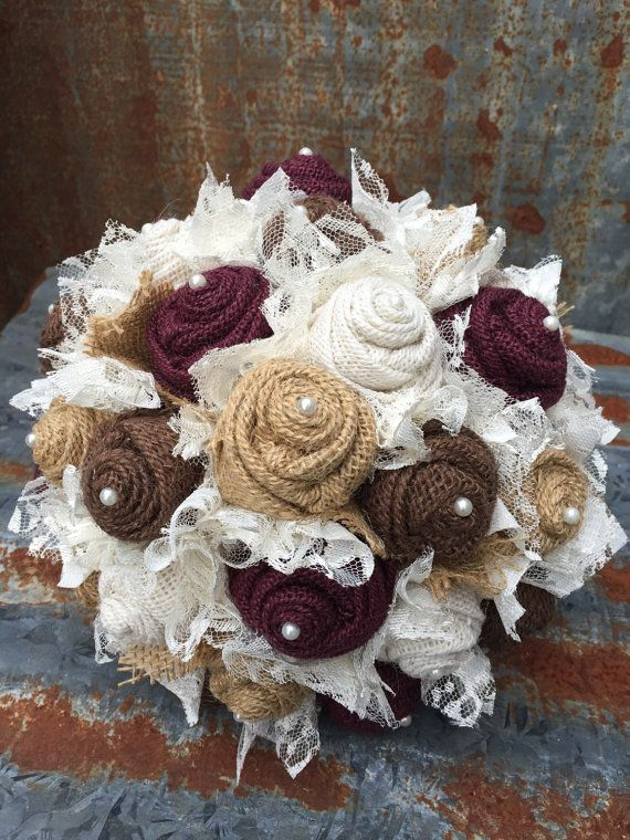Wine burgundy maroon Burlap and Lace Bridal by