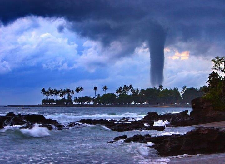 *via Facebook* Big Tornado seen in senggigi beach, the most popular beach in Lombok Indonesia. Lombok Island located beside Bali Island. This event happened at 29 December 2007 18:30 East Indonesia Time.