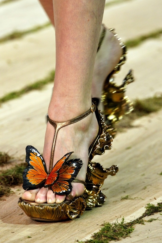 Alexander McQueen- Dislikes: Don't like butterflies around me. Likes: I like the butterflies colors and the shoe style.