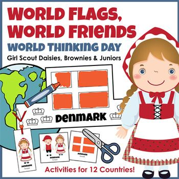 World Thinking Day award - Girl Scouts of all ages connect with sister Girls Guides from 146 countries by celebrating World Thinking Day on February 22. This HUGE 113-page activity pack includes five different products featuring flags and girls in traditional dress from twelve different nations from around the world.