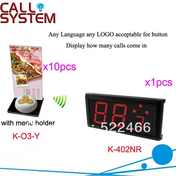 (264.00$)  Buy here - http://ai76e.worlditems.win/all/product.php?id=1012519737 - Restaurant Call Bell System K-402NR+O3-Y+H with 3-key call button and number display for wireless service DHL free shipping