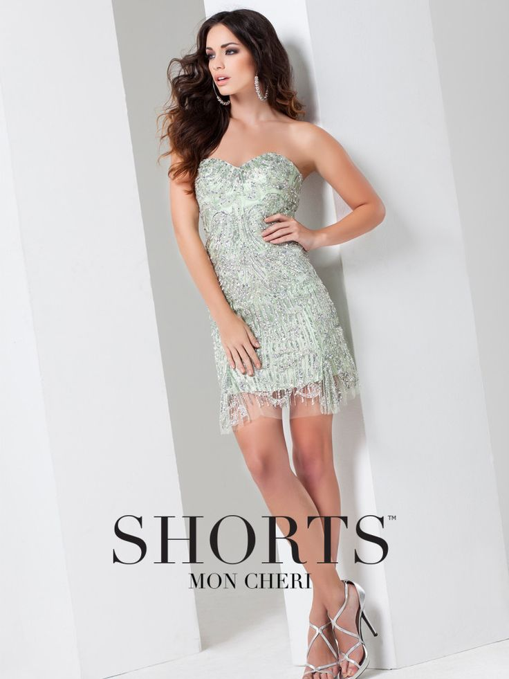 Shorts - TS11579 - Strapless hand-beaded mesh fit and flare above-the-knee dress, sweetheart neckline, slightly flared illusion hemline. Removable straps included.Sizes: 0 – 16Colors: Mint, Champagne