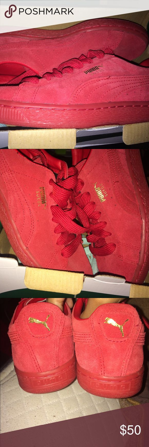 Puma Suede Classic Red Minor wearing but still in great condition  got from a another seller and where to small the u.s 5 I believe is in men's Puma Shoes Sneakers