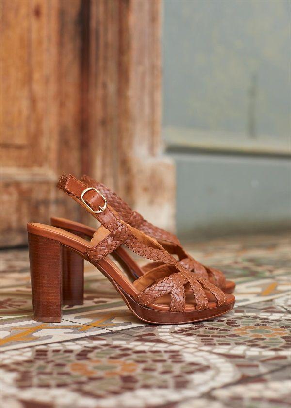 sandale talon marron sezane