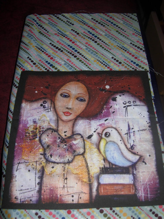 ART JOURNALING KIT a handmade mixed media fabric by eltsamp, $68.00
