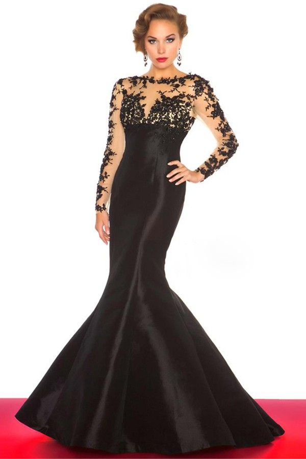 Cheap Simple Open Back Long Sleeve Mermaid Tight Formal Party Dresses