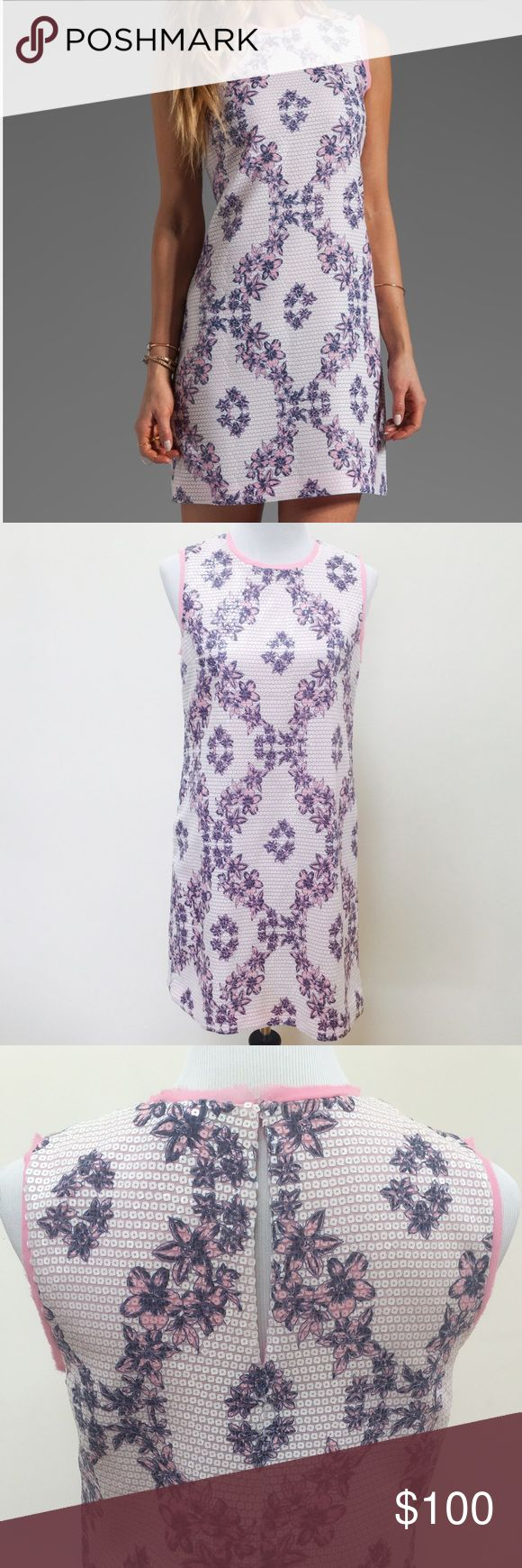"""Juicy Couture floral sequin dress Printed sequin dress in angel/bardot, fully lined, sequin throughout, back key hole with hook and eye closure, approx 33"""" in length Juicy Couture Dresses"""