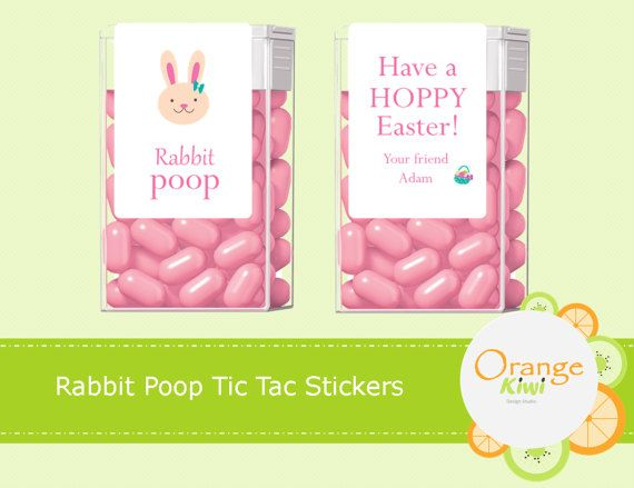 Rabbit Poop Tic Tac Labels Easter Tic Tac Stickers Party