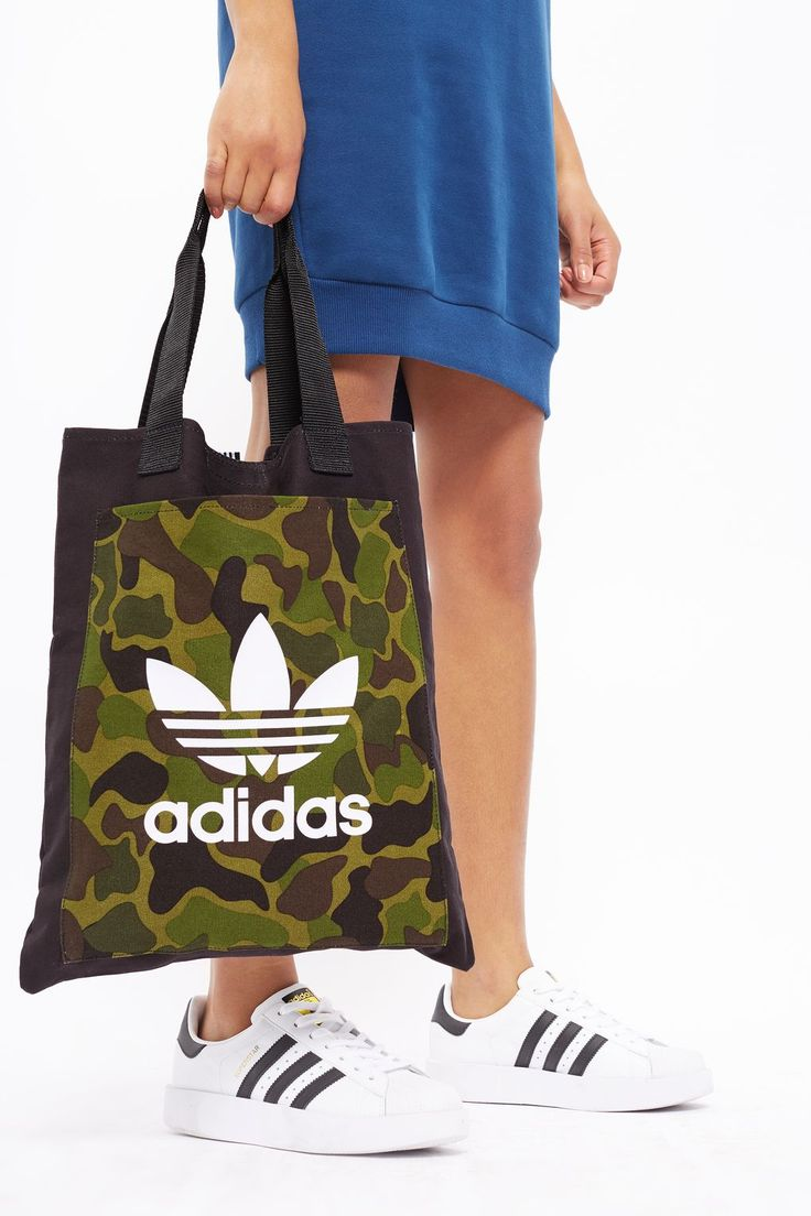 Black Canvas Shopper Bag by Adidas