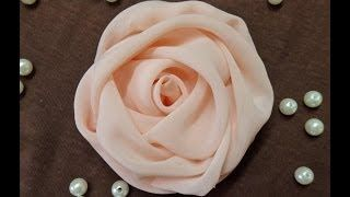 DIY chiffon rose,fabric rose tutorial,how to make the flower art youtube