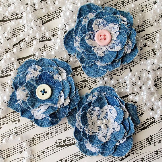 DENIM and LACE FLOWERS