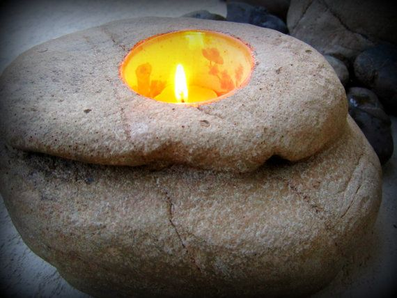 Hand Crafted Rock Candle Holder by SettingInStone on Etsy, $12.95
