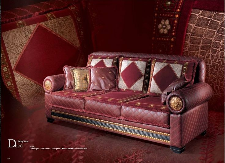 Кожаный бордовый диван Деко. Италия.