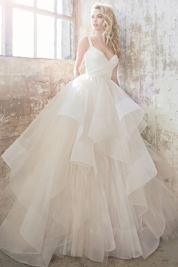 a83c2fe786a420 Fantastic Satin & Tulle Sweetheart Neckline Ball Gown Wedding Dress With  Cascading Ruffles