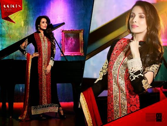 Ethnically designed Party wear Straight cut Black and Red Georgette Salwar suit with Beautiful thread and Stone work and Karachi Laces on the hemline and Sleeves. Matching Santoon Bottom and Chiffon Duppatta included.