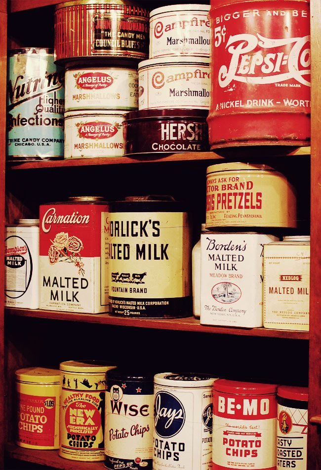 These are in a 1930s general store museum. Wonder what the products looked like in 1880s, or did they just buy everything in bulk?