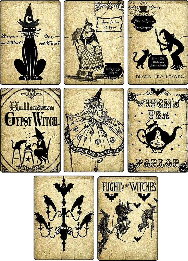 vintage images halloween witches pumpkin cat cards tags altered art atc set 6 ebay - Vintage Halloween Witches