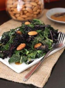 Sautéed Purple and Lacinato Kale Salad with Almond Dressing Recipe | Fake Food…