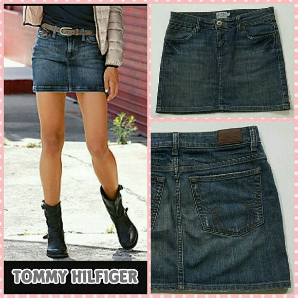 """Denim mini skirt Like new condition !!!! 99% Cotton, 1% Elastane 15.5"""" waist laying flat.  17.5""""hips laying flat. About 14.5"""" length. Details:denim, solid color, dark wash, front closure, button, zip, multipockets. Pair it with a plaid and your favorite boots or a t-shirt and sneakers for different looks. Tommy Hilfiger Skirts Mini"""