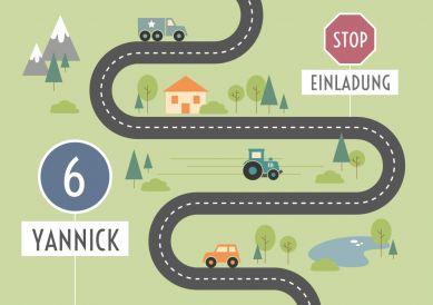Tolle Einladungskarte mit Straße, Autos und Verkehrsschildern zum 6. Kindergeburtstag  #Straße #Autos #Verkehr #Geburtstag#Einladung#birthday   #einladunggeburtstag.de