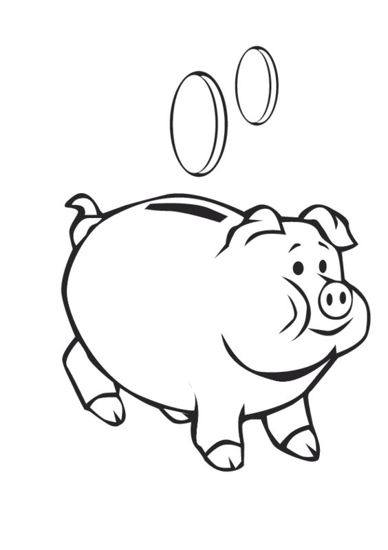 fat piggy bank and two pennies coloring sheets