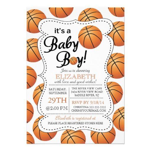 Itu0027s A Baby Boy Basketball Baby Shower Card