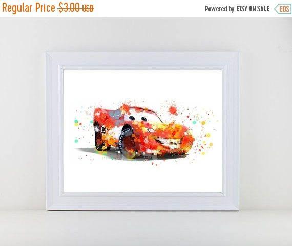 60%OFF Cars Disney Watercolor Cars Watercolor Print Lightning