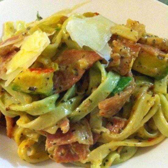 Fettuccini Carbonara with Avocado