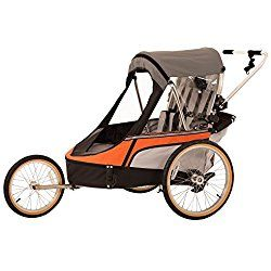Wike Premium Double 3 in 1 Bicycle Trailer + Strolling + Jogging - Orange/Gray