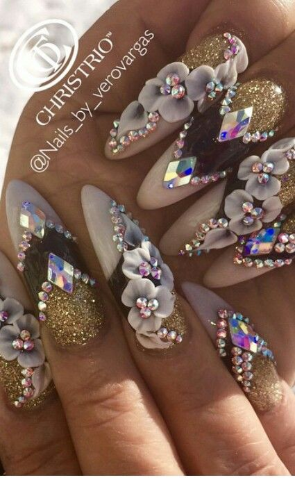 Gold black white Diamond rhinestone floral nails
