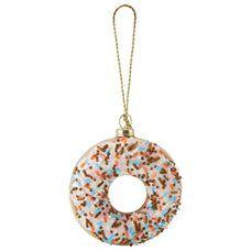Glass Donut Ornament – White