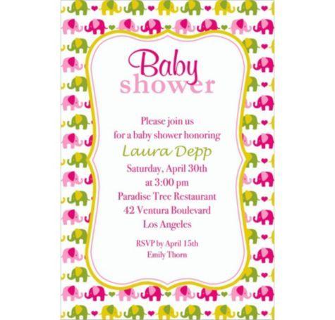 baby elephant pattern girl custom invitation party city - Baby Shower Invitations Party City