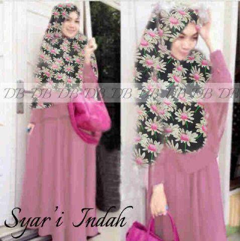 Busana muslim modern indah syar'i  pink KM215