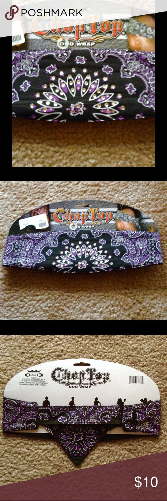"Doo Wrap with Bling💫💫💫NWT💨🙆💫💫 Unisex "" Doo wrap"" with a terrycloth sweatband, double sided tail, & adjustable Velcro closure that tucks in. Purple & black with rhinestone decor on front middle.🌄💜💜🚴🏁🚦🚥 Chop Top Accessories Hair Accessories"