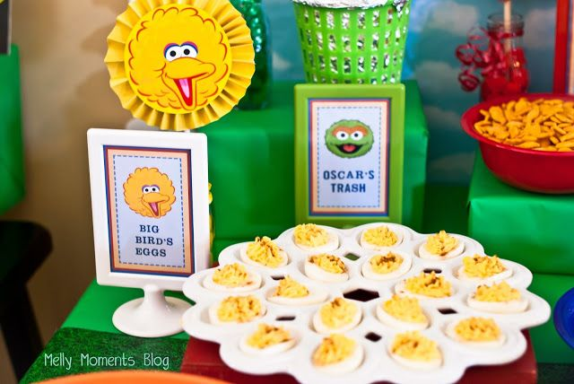 Big Bird's Eggs Food Table Tent Card for a Sesame Street / Elmo Themed Birthday Party!  Come check out all of the DIY decorations and colorful, festive party flare (including free printabels) at Melly Moments Blog!  Save yourself the time, energy, and money while planning a fabulous party for your kids!