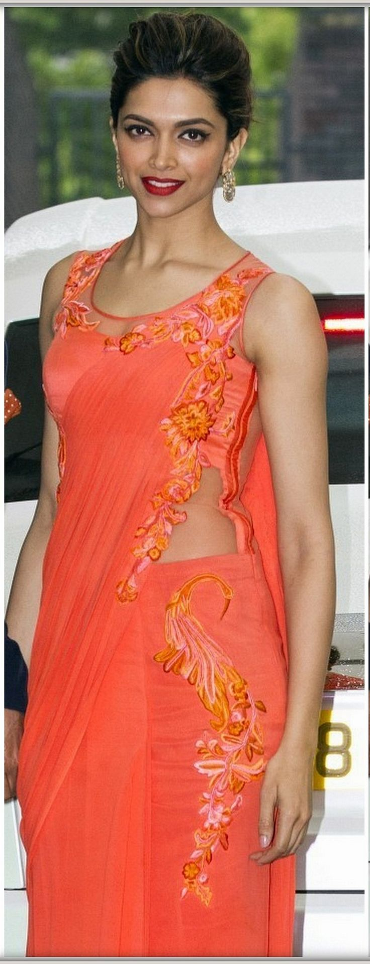Cute lovely simple orange look #Deepika