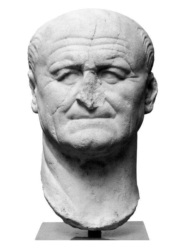 Ritratto a tutto tondo di Vespasiano, I d.C., Copenaghen. Le rughe e l'espressione rendono evidenti i particolari dell'individuo e lo stesso viso, sproporzionato, ne mette in luce i difetti.