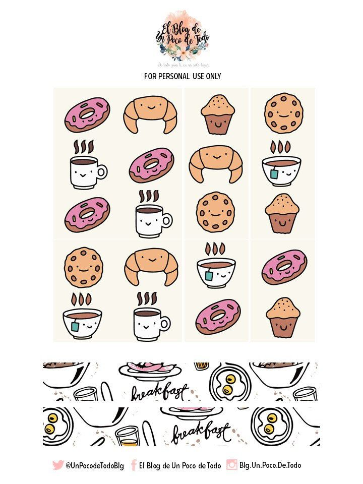 It's Breakfast Time! Grab These Free Lovely Stickers & Enjoy! | El Blog de Un Poco de Todo