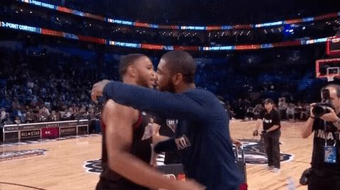 New party member! Tags: basketball nba hug hugging kyrie irving nba all star nba all star 2017 jbl three-point contest nba three point contest eric gordon