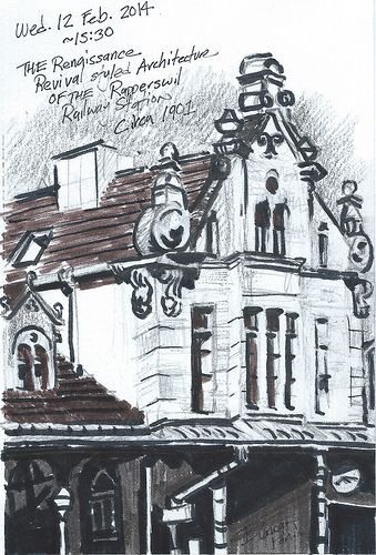 The benefits of missing ones train.  I have really admired the station in Rapperswil and having a little time to wait gave me the opportunity to capture the Renaissance Revival station in pencil & Tombow ink brush pens.  Medium: Tombow ink brush pens and pencil on paper. Sketched on location  Wed. 12 Feb. 2014