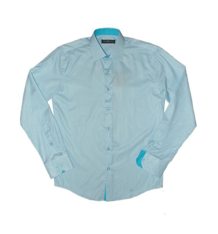 Бирюзовая рубашка в полоску по супер выгодной цене 2200 руб руб, с бесплатной доставкой по Москве и России без предоплаты. В наличие размеры 2XL, L, M, S, XL, приезжайте к нам в магазин!