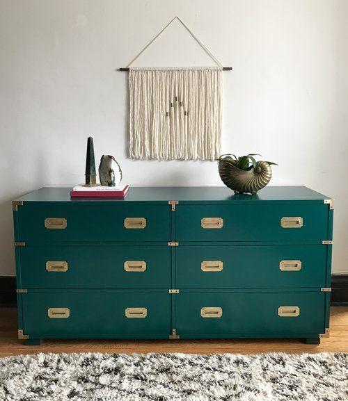 Vintage Emerald Campaign Dresser