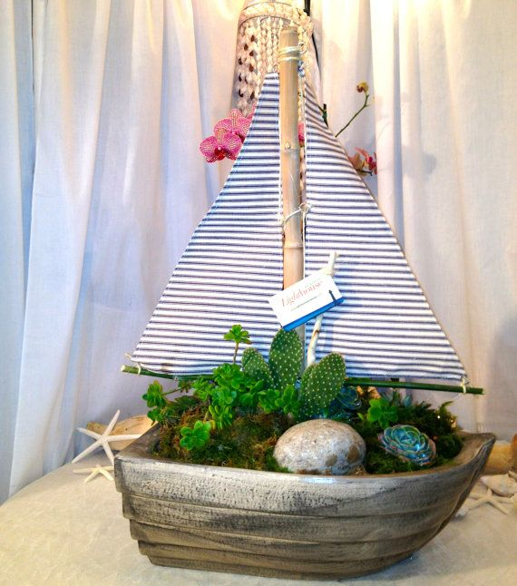 Sailboat with live succulent plant by lighthouseartdesign for Nautical themed backyard