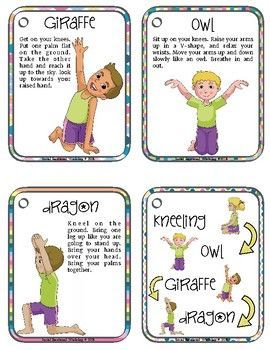 printable yoga cards with yoga poses for kids using simple
